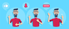 Flat Vector Image On A Blue Background, A Man With Glasses And A Red Shirt Offers To Subscribe To His Video Channel, Bell And Like