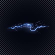 Blue Vector Lightning On Black...