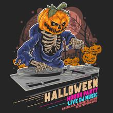 HALLOWEEN PUMPKIN ZOMBIE DJ MUSIC PARTY VECTOR