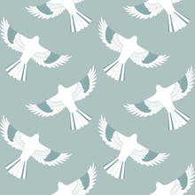 Blue Mockingbird Seamless Pattern. This Is A White, Green, And Blue Repeat Pattern Inspired By Mockingbirds And Geometric Lines. You Can Enjoy This On Packaging, Wallpaper, Or Backgrounds.