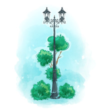 Old Wrought Iron Street Lamp. Fragment Of A Park With A Tree And Bushes Against The Blue Sky. Watercolor Background, Hand-drawing. Vector Landscape.