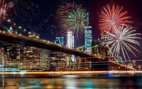 Obraz Colorful holiday fireworks panoramic view New York city Manhattan downtown skyline at night - fototapety do salonu