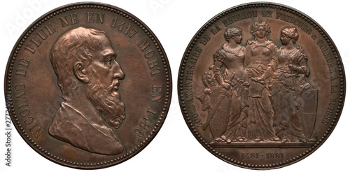 Fotografie, Obraz Switzerland Swiss Fribourg medal 1881, subject accession of Fribourg and Solothu