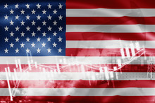 USA Flag, Stock Market, Exchange Economy And Trade, Oil Production, Container Ship In Export And Import Business And Logistics.