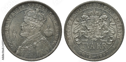 Valokuva  Sweden Swedish silver coin 2 two kronor 1897, subject Silver Jubilee, bust of Ki