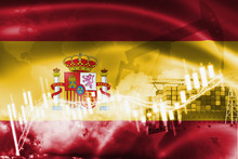 Spain Flag, Stock Market, Exchange Economy And Trade, Oil Production, Container Ship In Export And Import Business And Logistics.