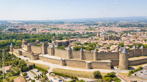 panoramic view of carcassone chateau, France Wallpaper Mural