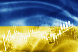 Ukraine flag, stock market, exchange economy and Trade, oil production, container ship in export and import business and logistics.