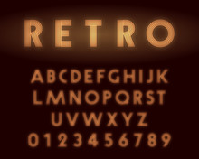 Retro Neon Alphabet Font. Letters And Numbers Line Design
