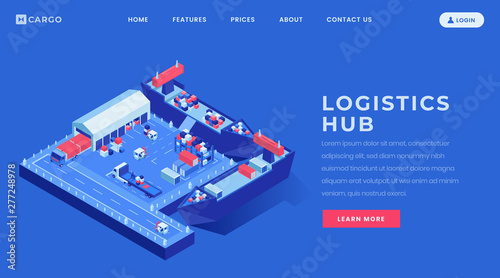 Valokuvatapetti Logistics hub landing page vector template