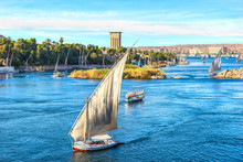 Sunset Over Nile In Aswan