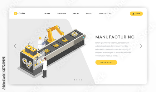 Assembly line, factory landing page template  Production