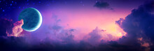 Crescent Moon With Stars And Colorful Clouds At Sunset
