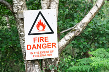 Danger Sign Notice In The Event Of Fire Call Emergency Services