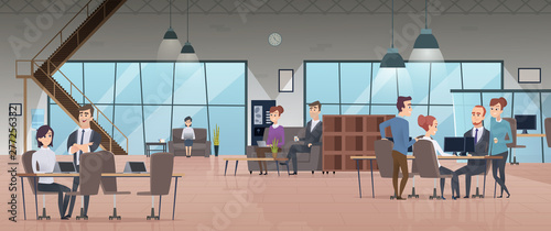 Obraz Open office interior. Business people workspace corporate working characters vector modern office. Illustration of office interior workspace, business employee coworking - fototapety do salonu