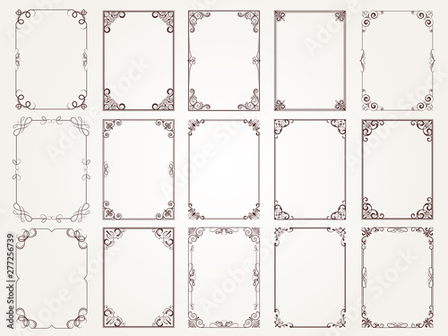 Fototapety, obrazy: Calligraphic frames. Borders corners ornate frames for certificate floral classic vector designs collection. Illustration of filigree border card, floral rectangular frame