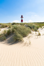 Lighthouse Red White On Dune. Sylt Island – North Germany.