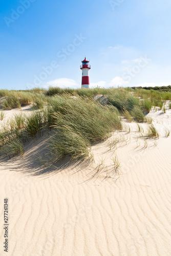 Lighthouse red white on dune. Sylt island – North Germany. Billede på lærred