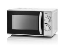 White Microwave Oven On A Whit...