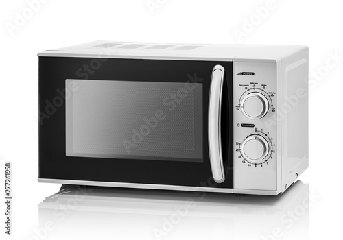 Fototapeta White microwave oven on a white background. obraz