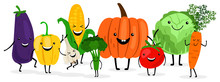 Cute Cartoon Vegetables Isolat...