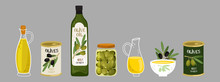 Olive Products Vector Collection. Olive Oil, Branches, Bottles Illustration. Olive Oil Jug, Capacity Bottle And Canned Olive