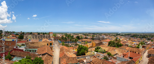 Aerial panoramic view of a small touristic Cuban Town during a sunny and cloudy summer day Canvas Print