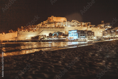 Night view of Peñiscola Mediterranean town of the province of Castellon, Spain a Wallpaper Mural