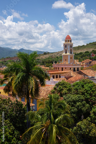 Aerial view of a small touristic Cuban Town during a sunny and cloudy summer day Canvas Print