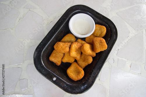 Nuggets de pollo con aderezo Canvas Print