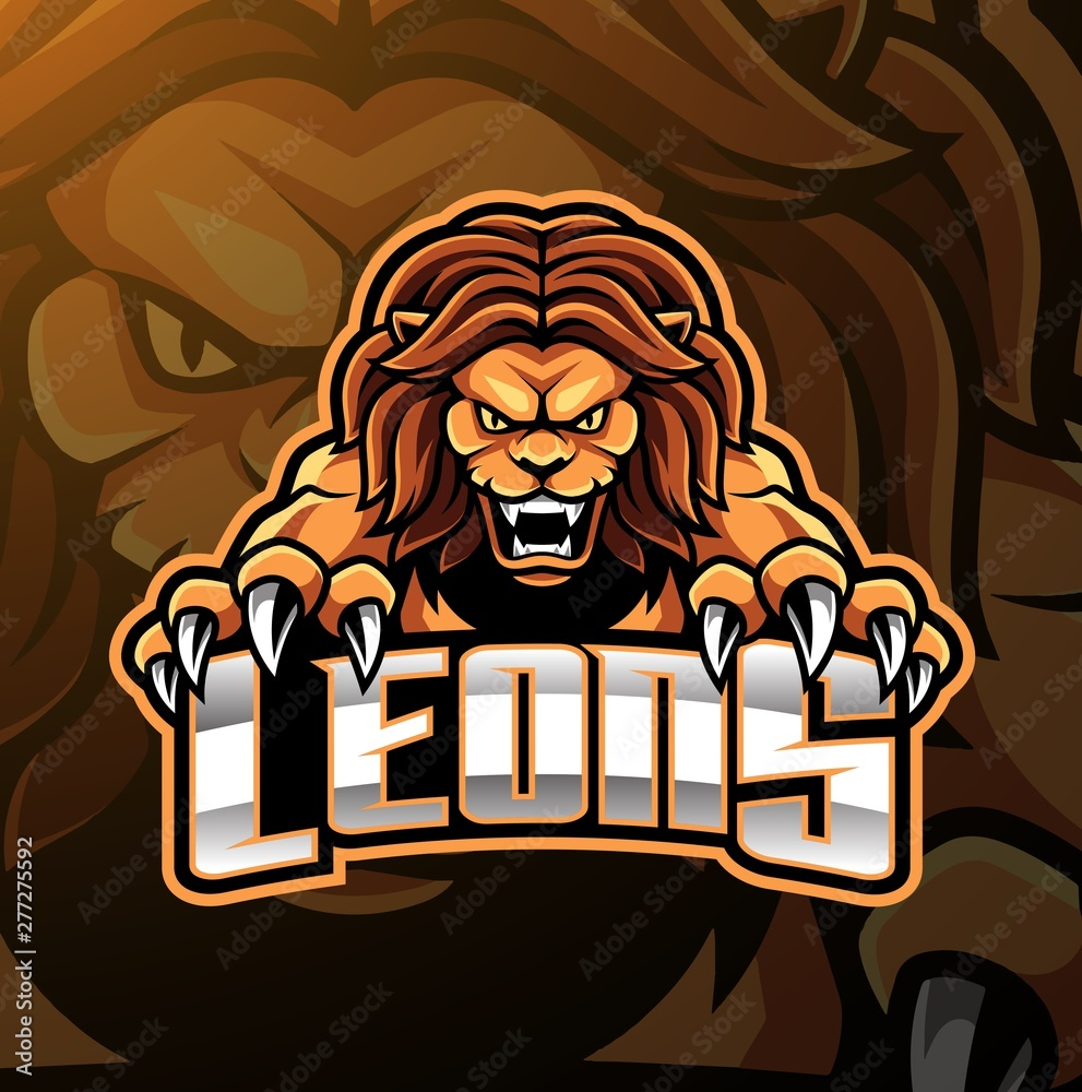Fototapeta Lion head mascot logo design