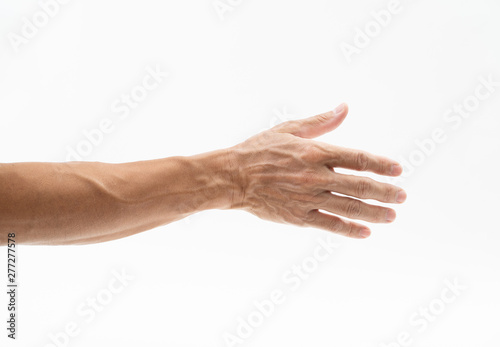 Man hand arm on white background Tablou Canvas