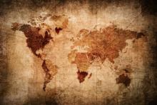 Retro Style World Map Texture Background