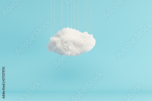 Cloud Hanging on blue room background Wallpaper Mural