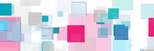 Cyan And Pink Squares Tech Abstract Banner Design