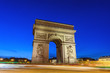 canvas print picture - Paris France city skyline night at Arc de Triomphe and Champs Elysees