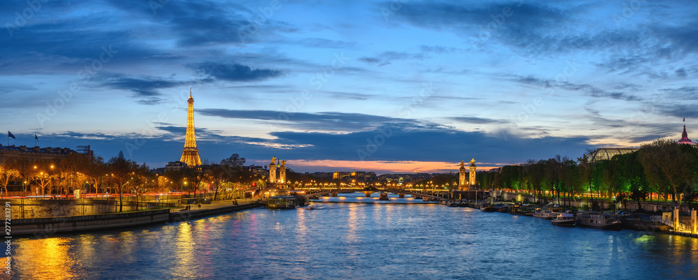 Fototapety, obrazy: Paris France panorama city skyline night at Seine River with Pont Alexandre III bridge and Eiffel Tower
