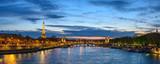 Fototapeta Fototapety z wieżą Eiffla - Paris France panorama city skyline night at Seine River with Pont Alexandre III bridge and Eiffel Tower