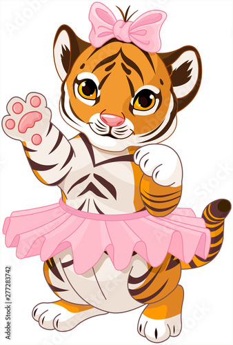 Illustration of cute playful tiger cub ballerina