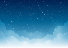 Night Starry Sky With Clouds F...