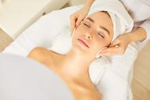 Beautician Makes Cleansing Facial Skin Girl.
