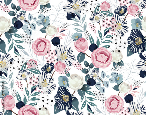 Photo Vector illustration of a seamless floral pattern in spring for Wedding, anniversary, birthday and party