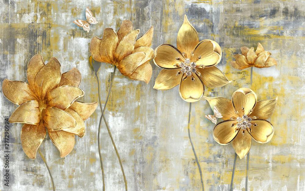 Fototapeta 3d illustration, gray grunge background, large golden flowers on thin stems