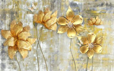 Fototapeta Grunge 3d illustration, gray grunge background, large golden flowers on thin stems