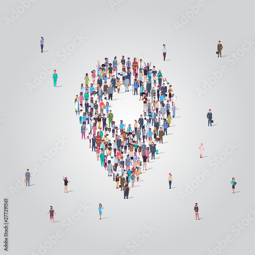 Fototapeta people crowd gathering in location geo tag shape social media community navigation concept different occupation employees group standing together full length obraz