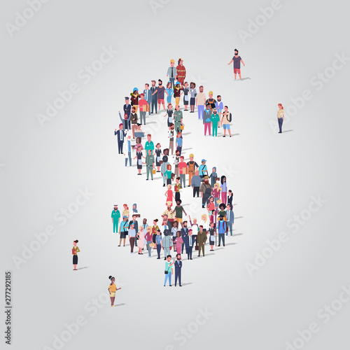 big people crowd standing together in shape of dollar sign different occupation employees group financial success money concept full length