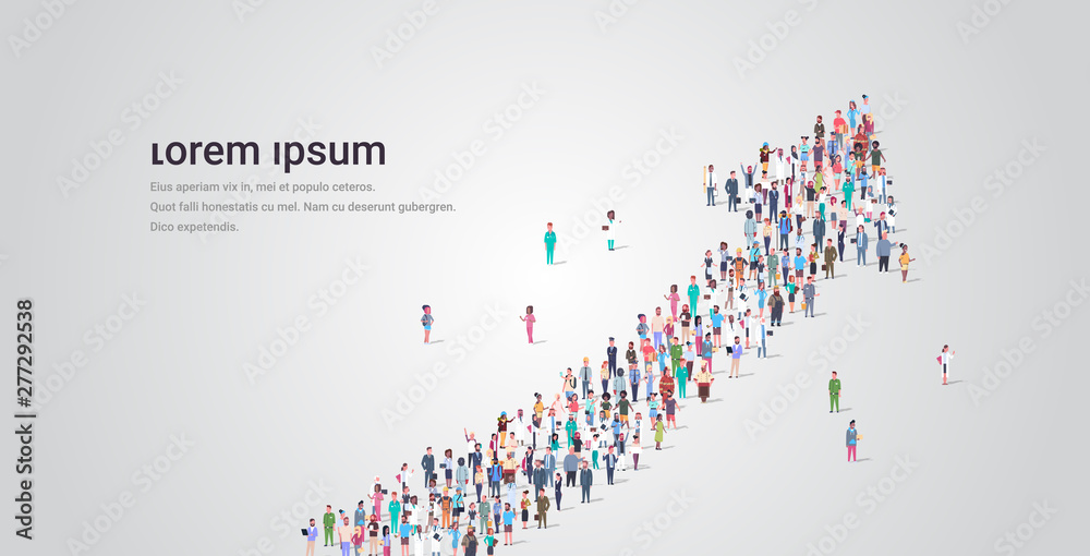 Fototapeta people crowd gathering in shape of financial arrow up symbol social media community successful growth concept different occupation employees group standing together full length horizontal copy space