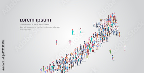people crowd gathering in shape of financial arrow up symbol social media commun Fototapet