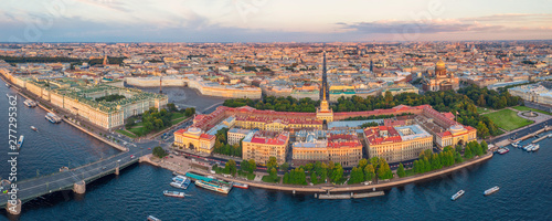 Panoramic sunset view of the historical center of St. Petersburg, the Hermitage Winter Palace, the Palace Square, the Admiralty, St. Isaac's Cathedral and the Bronze Horseman Peter 1. - 277295362