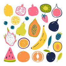 Hand Drawn Fruits. Vegetarian Food. Vector Illustration Isolated On White Background. Eco Lifestyle.